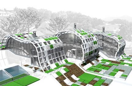 MATSCAPE: Material Mosaic Triplex, 50% Living House and contiguous Landscape