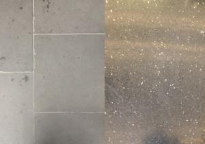 The dark grey floor of the stoop (left) is extended towards the polished and glittering floor of the lobby (right).