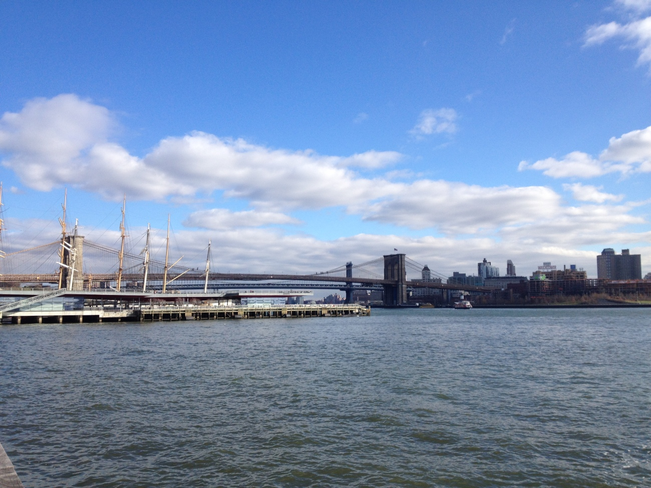 Piers 17 and 15, and the Manhattan bridge, seen from further South.