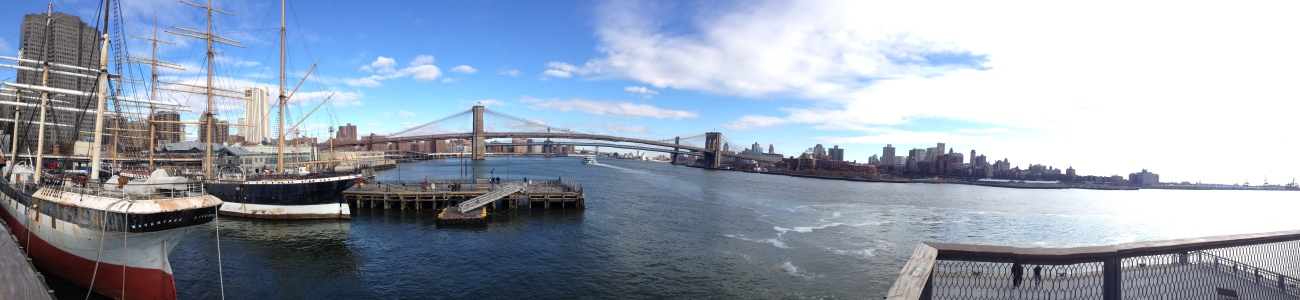 From the pier 17, view on the pier 15 and its historic ships, an extension of the South Street Seaport Museum.